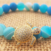 Blue Nautical Bracelet Golden Turtle Bracelet Blue Agate Bracelet Beaded Stretch Bracelet Lucky Turtle Spiritual Gift Ideas Women Jewelry