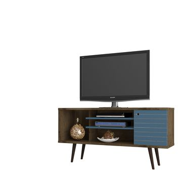 "Liberty 53.14"" Mid Century - Modern TV Stand w/ 5 Shelves & 1 Door w/ Solid Wood Legs-Brown & Blue"