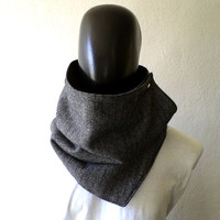 Men scarf. Men cowl,  Extra Wide, herringbone wool in black and white. Trendy, modern, chunky  and cozy. READY TO SHIP.