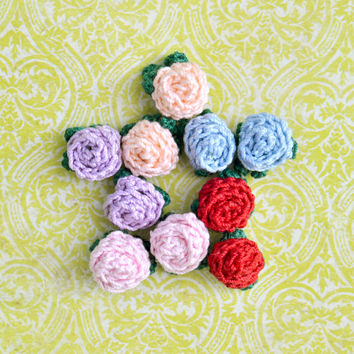 Flower Crochet Rose, Pierced Earrings, Floral Nature, Womens Teen Kids Spring Summer Fabric Jewelry, Wife Girlfriend Mom Sister Gift