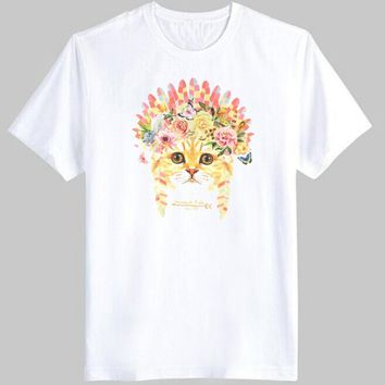 Kitty Cat in a Floral Feather Headdress Graphic Print Tee T-Shirt for Women