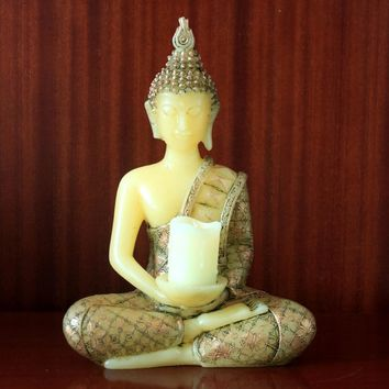 Thai Buddha Statues buddha statue Candles holder with a Led Tealight candle with Timer,Battery operated,35cm tall