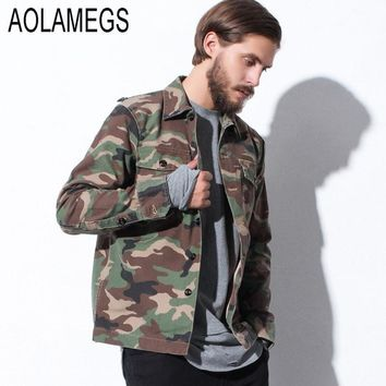 Aolamegs Camouflage Jacket Men Harajuku Vintage Jackets Shirt New Brand Clothing Fashion Camo Military Windbreaker Veste Homme