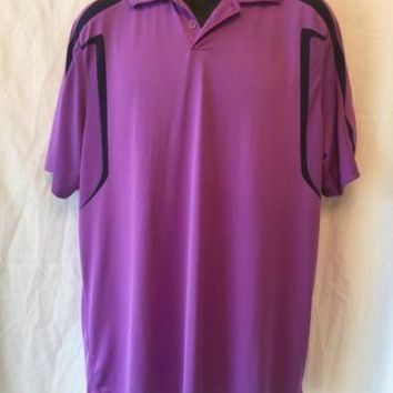 Nike Golf Dri-Fit Purple and Black Polo Shirt Mens Size L Large Taiwan Charity