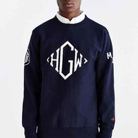 Heather Grey Wall X Mark McNairy Navy Monogram Crew Neck Sweater- Assorted Large