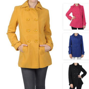 Journee Collection Junior's Double Breasted Wool Peacoat | Overstock.com