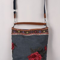 Colorful Embroidery Floral Patch Denim Bag