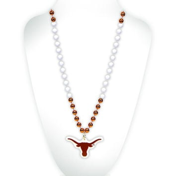 Texas Longhorns Mardi Gras Beads with Medallion