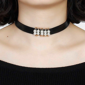Leather Choker Necklace Gold Plated Safety Pins White Acrylic Imitation Pearl