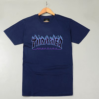 Thrasher Magazine Flame Logo Blue T-Shirt