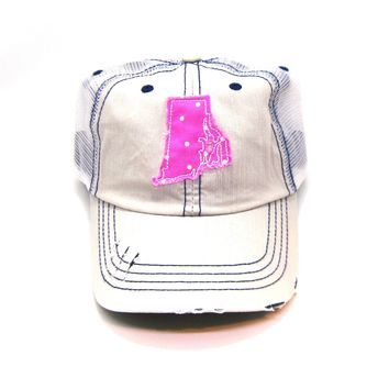 Rhode Island Trucker Hat - Distressed - Floral Fabric State Cutout
