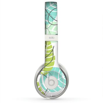 The Green & Blue Subtle Seamless Leaves Skin for the Beats by Dre Solo 2 Headphones
