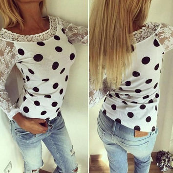 Women Polka Dot Tee Shirt Lace Crochet T-Shirts Top 2016 Fashion Autumn Sexy Long Sleeve O-neck T Shirt Tops Casual Female GV290