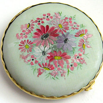 Vintage Compact, Powder Compact, Make Up Compact, Round Compact, Make Up Mirror, 50s Accessories, Hand Painted Makeup Compact