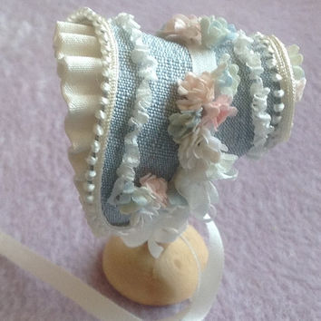 NEW Beautiful handmade /12 dollshouse blue silk shaped bonnet