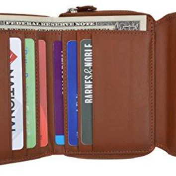 Moga Ladies Genuine Leather Trifold ID Card Holder Wallet With Zippered Compartment Women