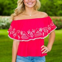 Afternoon Fiesta Top-Red - NEW ARRIVALS