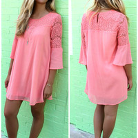 Mediterranean Style Getaway Bell Sleeve Lace Coral Dress