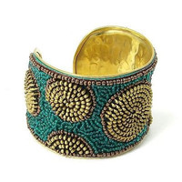 Zipper Beaded Cuff in Gold and Teal - WorldFinds