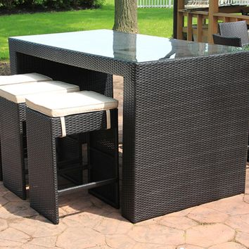 7-Piece Black Resin Wicker Outdoor Furniture Bar Dining Set - Lime Green Cushions