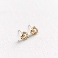 Sterling Silver + 18k Gold Plated Heart Post Earring - Urban Outfitters