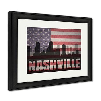 Framed Print, Abstract Silhouette Of The City With Text Nashville At The Vintage American