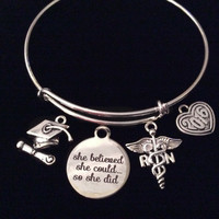 Graduating RN Nurse She Believed She Could So She Did Silver Expandable Charm Bracelet Adjustable Bangle Gift