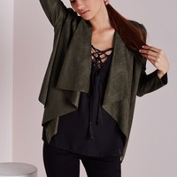 FAUX SUEDE WATERFALL JACKET KHAKI