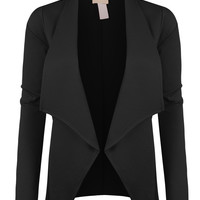 LE3NO Womens Plus Size Open Front Long Sleeve Tuxedo Blazer Jacket