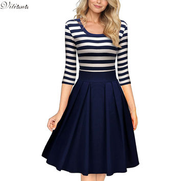 VITIANA Women Slimming Clothing Autumn Casual Striped Bodycon Striped Patchwork O-Neck Office Dress