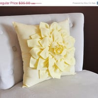 MOTHERS DAY SALE Light Yellow Dahlia Flower Pillow -Decorative Spring Pastel Pillow-