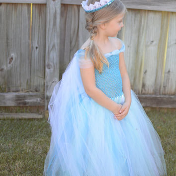 Inspired by Elsa Costume, Queen Elsa Inspired Costume, Princess Dress, Elsa Inspired Tutu, Birthday, Halloween Costume, Princess Photo Prop