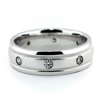 Men's Diamond  Wedding Band - Classic Cool