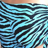 SXY Fitness Teal and Black Zebra Stripes Low Rise Yoga/Fitne