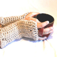 Beige Fingerless Gloves- Fingerless mitts- Mittens - Hand warmer - Handmade