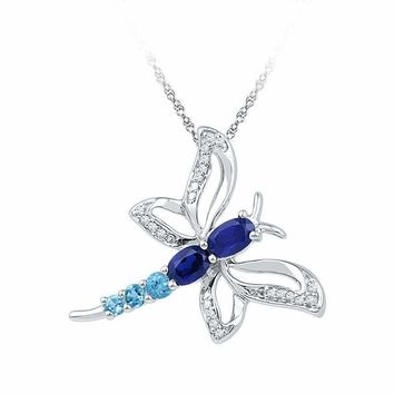 10kt White Gold Women's Oval Lab-Created Blue Sapphire Butterfly Bug Pendant 7-8 Cttw - FREE Shipping (US/CAN)