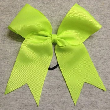 Neon Yellow/Green Solid Cheer / Softball / Volleyball Bow