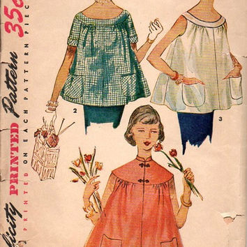 Simplicity 50s Sewing Pattern 4718 Vintage Maternity Blouse Trapeze Tent Shirt Top A-line Loose Fit Bust 33