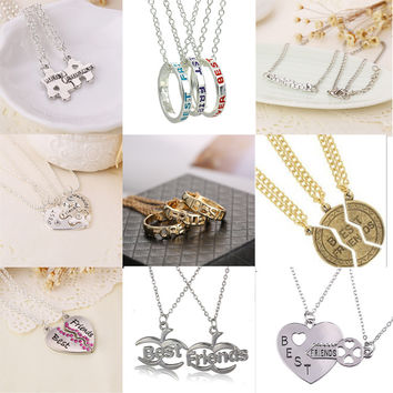 Women's Style Broken Heart 3 Parts Pendant Best Friend Forever Necklace Jewelry