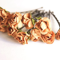 Bridal Hair Accessories, Brown Rose, Brown flower Hair Bobby Pin, Brass Bobby pin- set 12