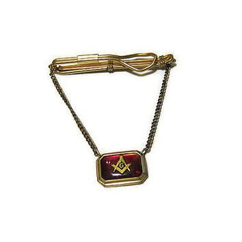 Gold Tone Correct Quality Vintage Masons Cravat Holder Tie Clasp Clip Bar with Chain