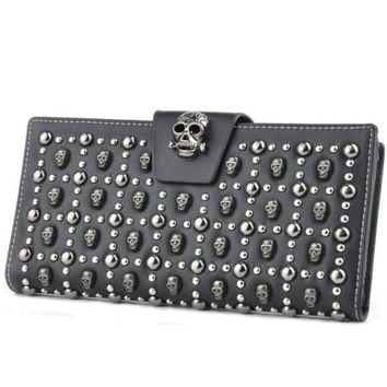 Women's Fashion Skull Long Leather Clutch Purse Credit Card Holder Wallet