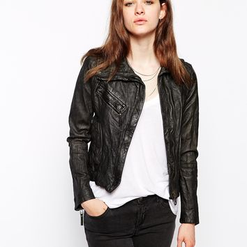 Doma Leather Biker Jacket With Oversized Collar