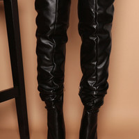 Sabrina Ruched Thigh Highs in Black Vegan Leather   Women's Heels, Boots & Shoes