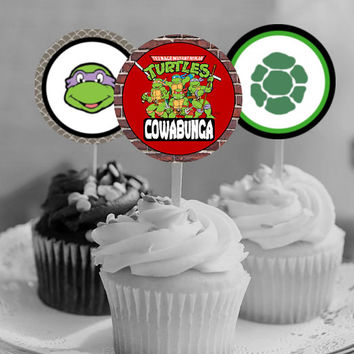 "TMNT - Teenage Mutant Ninja Turtles - Download 2.25"" Cupcake Toppers, Printable Birthday Party Gift Tags, Toppers, Boy Girl Stickers, Favor"