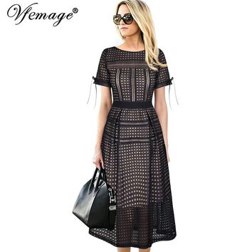 Eyelet Mesh Patchwork Evening Party Special Occasion Fit and Flare A-Line Midi Dress
