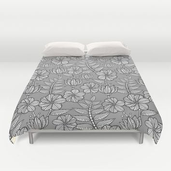 Kenia flowers in grey Duvet Cover by Juliagrifol Designs