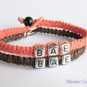 BAE Bracelets for Couples, Coral and Dark Brown Handmade Hemp Jewelry