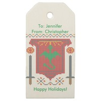 FireBreathing Dragon Ugly Christmas Sweater Shield Gift Tag