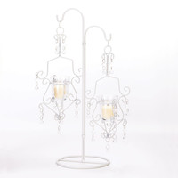 White Crystal Drop Candle Stand